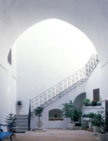 The stairs leading to the upper floor of the House of 'Abbúd.