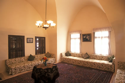 The reception room at the Mansion of Mazra'ih, where Bahá'u'lláh often received guests.