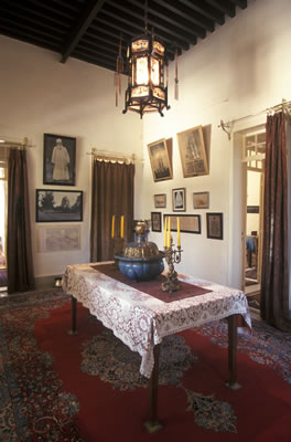 The anteroom just outside the room of Bahá'u'lláh in the Mansion of Mazra'ih. His room is located on the far left.